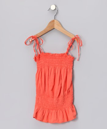 Jelly Orange Shirred Top