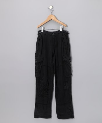 Black Flower Cargo Pants