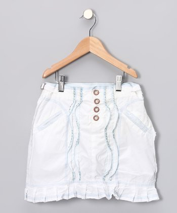 White Rivet Skirt - Girls