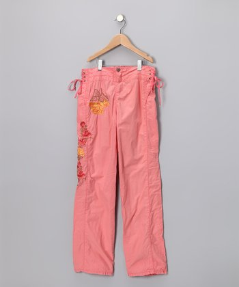 Coral Floral Pants - Girls