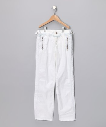 White Wide-Leg Pants - Girls