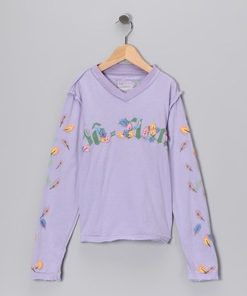 Wisteria Blooming Flower V-Neck Tee - Girls