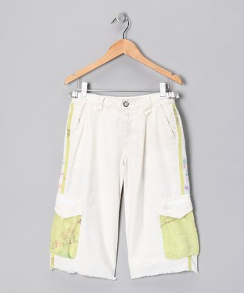 White Floral Silk Bermuda Shorts