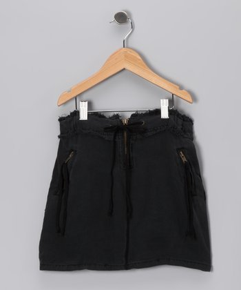 Black Drawstring Skirt - Girls
