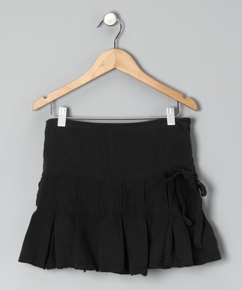 Black Silk Pleated Skirt - Girls