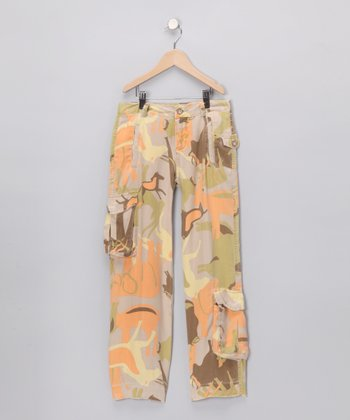 Green & Orange Forest Silk Cargo Pants