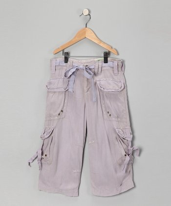 Lilac Silk Cargo Pants - Girls