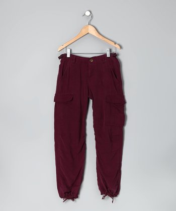 Eggplant Dragon Silk Cargo Pants - Girls