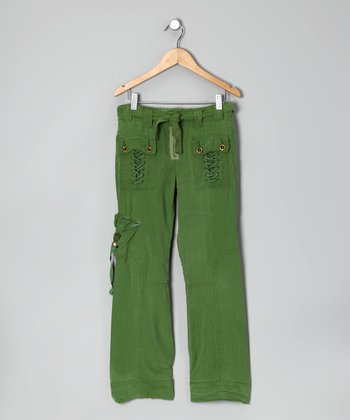 Avocado Lace-Up Silk Pants - Girls