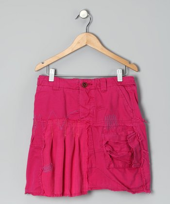Fuchsia Embroidered Silk Skirt - Girls