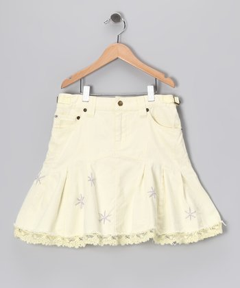 White Flower Trim Skirt - Girls
