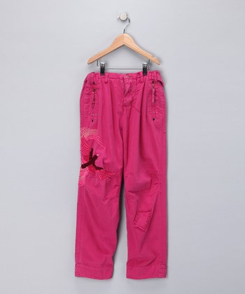 Fuchsia Embroidered Bird Pants - Girls