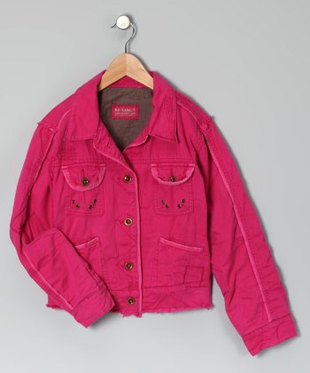 Fuchsia Denim Jacket - Girls