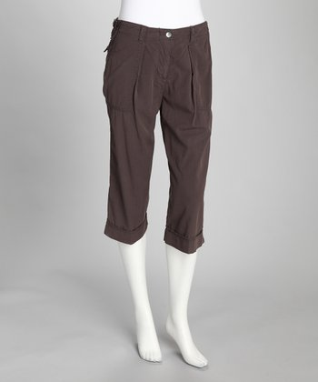 Brown Silk-Blend Cropped Pants