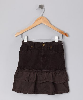 Coffee Tiered Ruffle Skirt - Girls