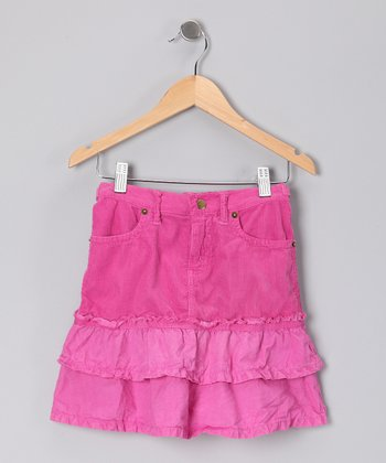 Fuchsia Tiered Ruffle Skirt - Girls