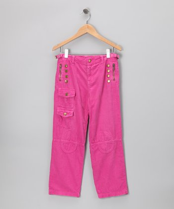 Fuchsia Corduroy Pocket Pants - Girls