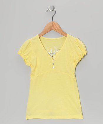 Chickadee Yellow Puff-Sleeve Henley - Girls