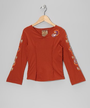 Auburn Embroidered Top - Girls