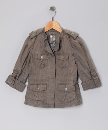 Ash Woven Military Jacket - Toddler & Girls