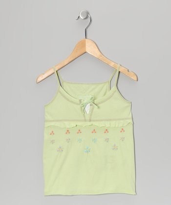 Apple Green Embroidered Camisole - Girls