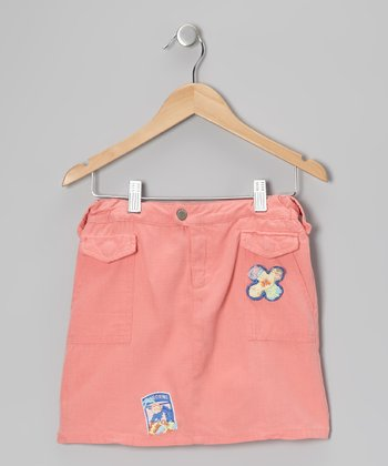 Crayon Pink Flower Silk-Blend Skirt - Girls