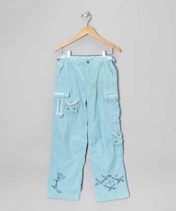 Aqua Blue Silk-Blend Cargo Pants