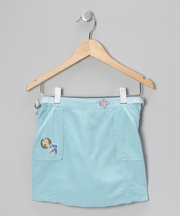 Aqua Blue Silk-Blend Utility Skirt - Girls