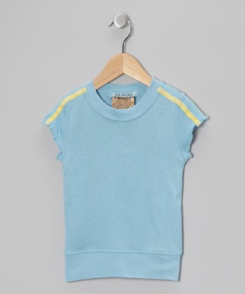 Azure Blue Silk Cap-Sleeve Top - Girls
