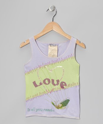 Amethyst & Lime 'Love' Tank - Girls