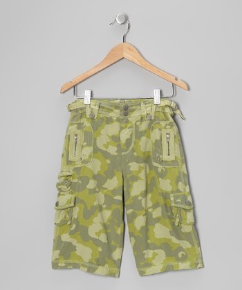 Green Camo Silk-Blend Bermuda Shorts