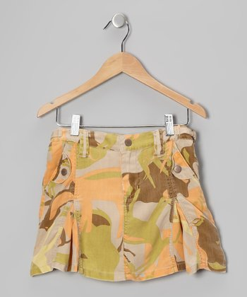 Green & Orange Forest Silk Camo Skirt