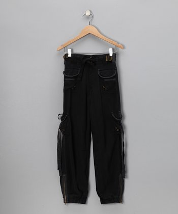 Black Silk Cargo Pants - Girls