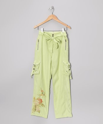 Apple Green Silk Belted Cargo Pants