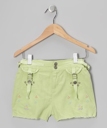 Apple Green Embroidered Silk-Blend Shorts - Girls
