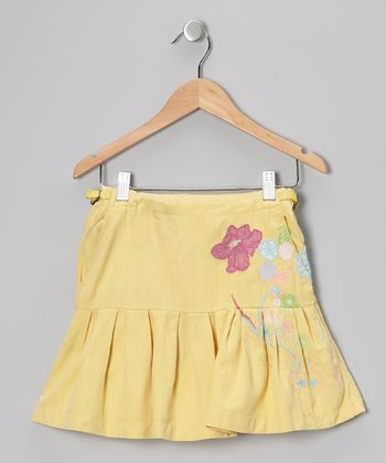 Chickadee Embroidered Silk-Blend Pleated Skirt - Girls