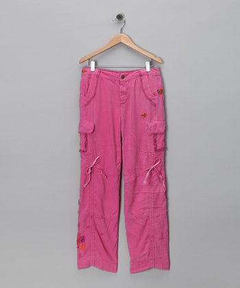 Mulberry Paisley Silk-Blend Cargo Pants - Girls