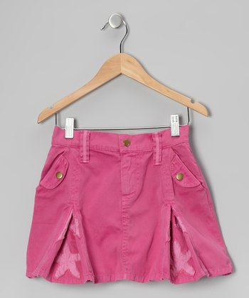 Fuchsia Star Godet Skirt - Girls