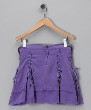 Violet Ruffle Silk Skirt - Girls