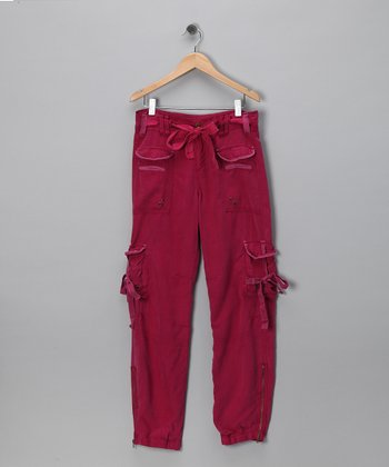 Magenta Rivet Tie Silk Cargo Pants - Girls