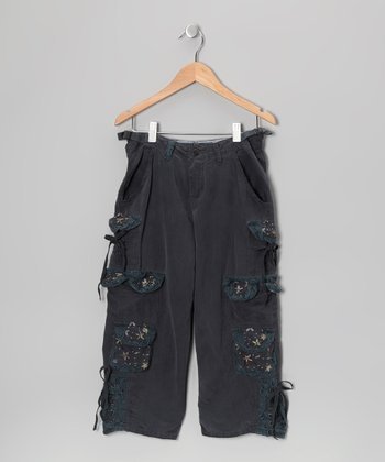 Nightshadow Silk-Blend Cropped Cargo Pants - Girls