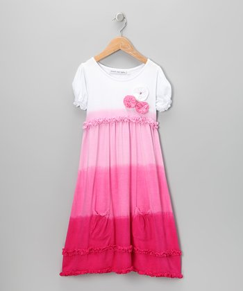 Pink Rosette Ombré Ruffle Dress - Infant & Toddler