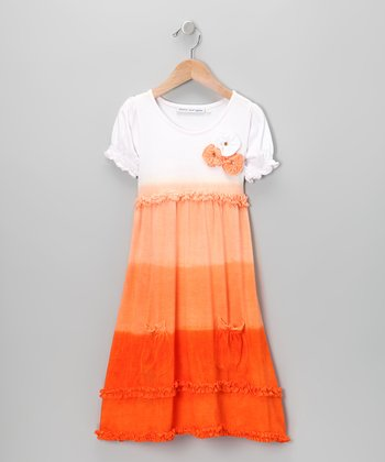 Orange Rosette Ombré Ruffle Dress - Infant & Toddler
