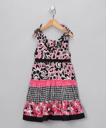 Pink Floral Rhinestone Tiered Dress - Infant, Toddler & Girls