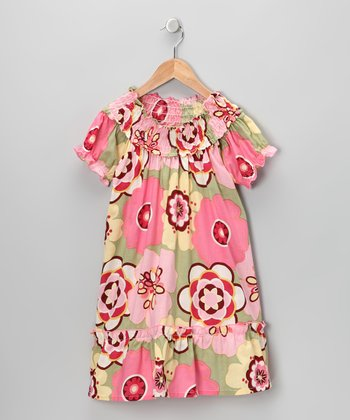Pink Floral Peasant Dress - Infant, Toddler & Girls