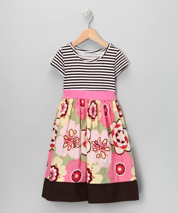 Pink & Brown Floral Stripe Dress - Infant