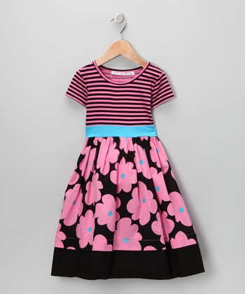 Pink & Black Peony Stripe Dress - Infant