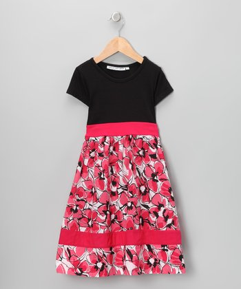 Black & Pink Floral Dress - Infant, Toddler & Girls