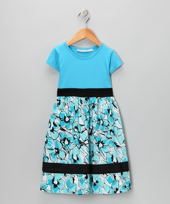 Turquoise & Black Floral Dress - Infant, Toddler & Girls