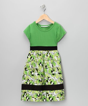Green & Black Floral Dress - Infant, Toddler & Girls